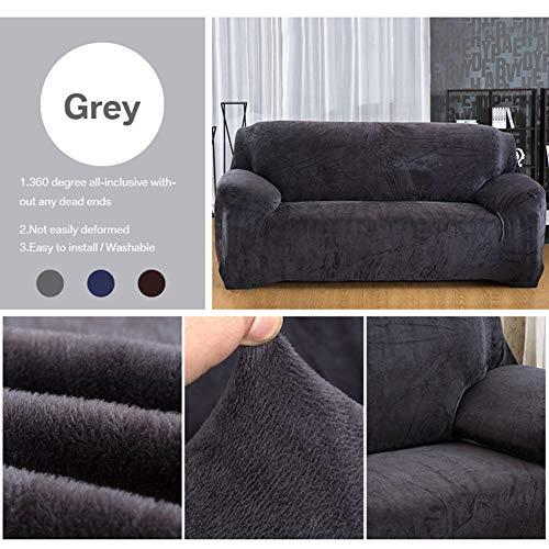Yeahmart Stretch-Sofaüberzug für 1/2/3-Sitzer, einfarbig, Samt, leicht anzupassen, elastischer Stoff, Samt, grau, 3 Seater(195-230cm)
