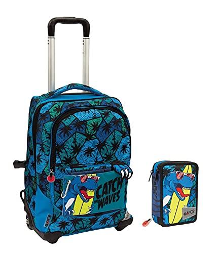 Gopop T Rex - Mochila escolar con ruedas, 5 gráficos, con estuche de 3 pisos y 7 bolígrafos borrables con llavero de juego cubo y bolígrafo multicolor perfumado