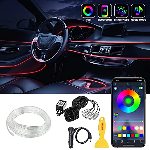 Car LED Strip Lights, LEDCARE Multicolor RGB Car Interior Lights, 16 Million Colors 5 in 1 with 236 inches Fiber Optic, Ambient Lighting Kits, Sound Active Function and Wireless Bluetooth APP Control