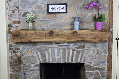 Modern Timber Craft Fireplace Mantel Shelf - Hand Hewn Wood Barn Beam - Authentic Reclaimed Wooden Rustic Shelving 60 Inches