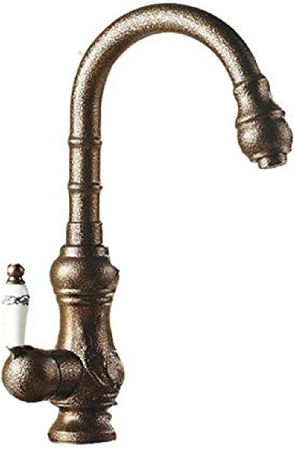 Retro Faucet Double Handle Bathroom Sink Faucet Hot and Cold Water Mixing