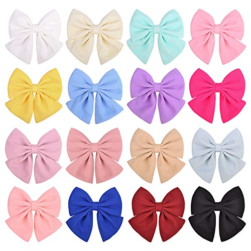 YHXX YLEN 16 piezas de lazos para el pelo de bebé mini clips de pelo de 4.3 pulgadas, lazos de cinta de lazos, pinzas de cocodrilo accesorios para el cabello para niñas y bebés