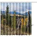 Alan Connie Duschvorhang-Jäger Auf Einem Gebirgskamm-Grafikdruck-Polyester-Gewebe Mit 12 Haken,48X72 Inch/H183 X W122 cm