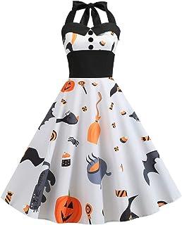 Disfraz de carnaval para mujer, moda para Halloween, encaje, manga corta, vintage, vestido de noche, fiesta, vintage, con impresión de falda de 50