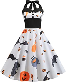 KLFGJ New Ladies Dress Halloween Vintage Sleeveless Bat Costumes Printed Evening Party Dresses