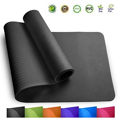 Sosila TPE Yogamatte, ECO Gymnastik Matte, rutschfest, umweltfreundlich, hypoallergen und hautfreundlich, ideal für Yoga, Pilates und Fitness, mit Tasche und Trageband, 183 x 61 x 0,8 cm (Schwarzgrün)