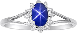 Diamond & Blue Star Sapphire Ring set in Sterling Silver