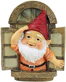 Design Toscano Garden Gnome Statue - Knothole Welcome Gnomes - Gnome Tree Window - Fairy Garden - Gnome Village