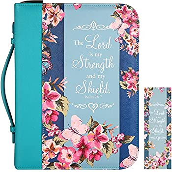 Bible Cover Case for Women with Matched Bookmark Floral PU Leather Bible Cover Bag with Pockets and Zipper for Standard and Large Size Study Bible 11 x8.2 x2.2   Navy Floral