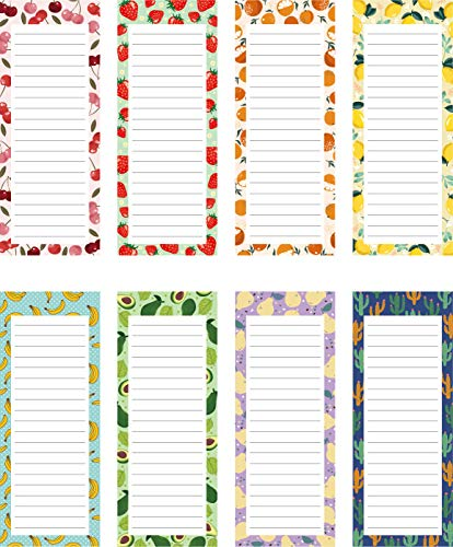 8 Pack Magnetic Notepads for Fridge, to Do List, Grocery List, Shopping List,Reminders, Recipes,3.5' x 9', 50 Sheets, Magnet Memo Pad Vintange Fruits