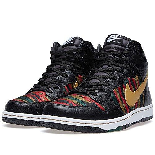 Nike DUNK CMFT PRM QS Herren Hi Top Sneaker Schuhe 716714, - Schwarz Rot Grün Gold - Größe: 45 EU