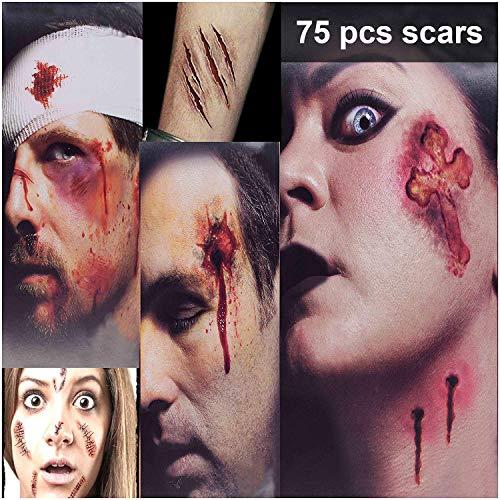 Halloween Tatuajes Halloween Zombie Tattoo - 75 Estilos Horror Cicatrices Heridas Tatuajes Pegatinas, Realista Horror Tatuaje temporal, Maquillaje Halloween Hombre Mujer (3L+3M)