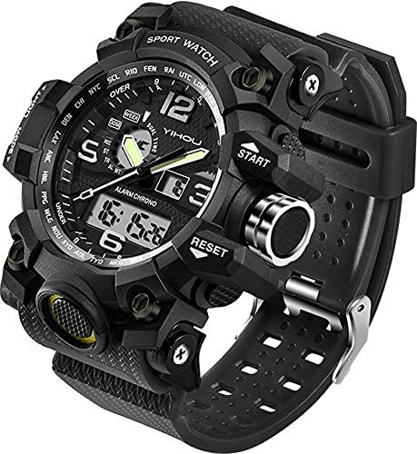 Relógio de pulso masculino, esportivo, com cronômetro, LED, eletrônico, dois horários, digital e analógico, ambientes externos, militar, tático, Preto, 2.17 Inch