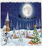 ABAKUHAUS Weihnachten Duschvorhang, Winterlandschaft, Set inkl.12 Haken aus Stoff Wasserdicht Bakterie & Schimmel Abweichent, 175 x 200 cm, Blau-weiß