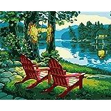 DIY絵 デジタル油絵 キャンバスの油絵 レイクサイドラウンジチェア 大人の子供のためのギフト -40*50cm(フレームレス)