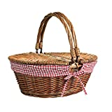 Display4top Oval Wicker Picnic Basket,Utility Storage Baskets with Folding Handles & Liners for Picnics Liner Holiday Camping Parties and Decoration (15.8' x 11.8' x 7.9')