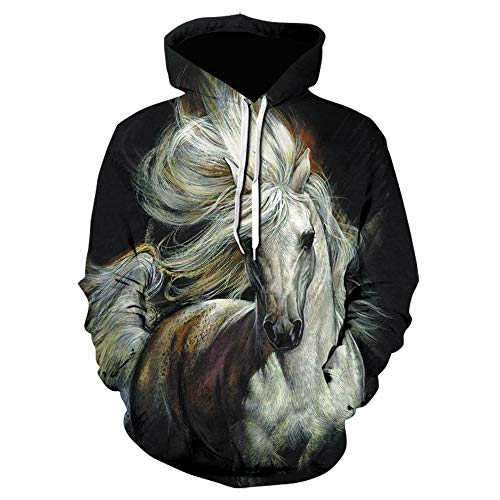 Felpa con Cappuccio Stampata in 3D Uomo Pullover Cavallo Animale Nero Casual Streetwear Nuova Giacca off White Coat-We-1425_Size_L