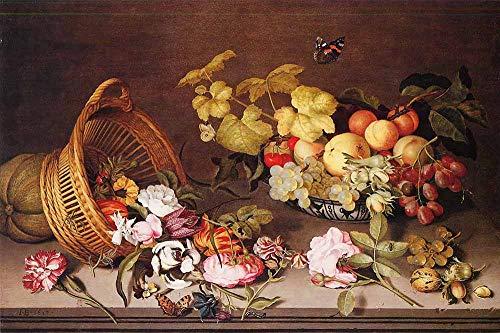JH Lacrocon Ambrosius Bosschaert Il Vecchio - Cesto Fiori Scorze Frutta Riproduzioni Quadro Stampa su Tela Arrotolata 90X60 cm - Dipinti Natura Morta Decorazione da Parete