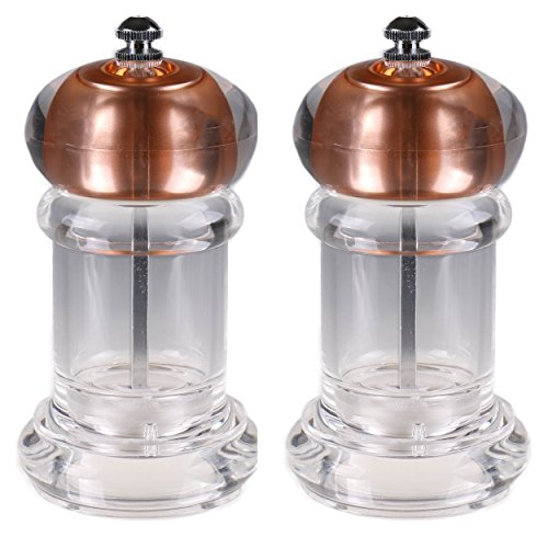 Copper Topped Salt and Pepper Burr Grinder Set | Zinc and Nylon Grinder Heads | Modern Acrylic and Stainless Steel Design | Set of 2