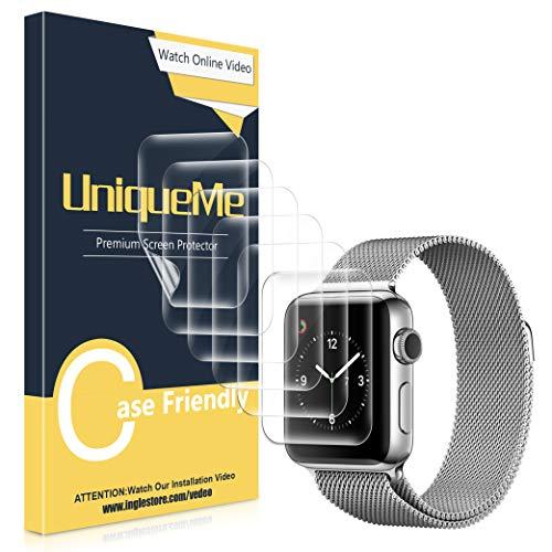 UniqueMe Pellicola Protettiva per Apple Watch 40mm Series 5/4 e 38mm Series 4/3 Pellicola, [Adsorbimento anidro] [Film Flessibile] Soft HD Clear Anti-Scratch [Garanzia sui sostituzioni a Vita]
