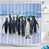 LB Duschvorhang Antarktische Tiere 240cm B x 175cm H Süße Pinguine auf EIS Bad Gardinen mit Vorhanghaken Extra Breit Polyester Wasserdicht Anti Schimmel Badezimmer Vorhang