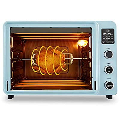 Hauswirt 42 Qt Convection Toaster Oven, 1800W 8-in-1 Countertop Digital Oven with Large Capacity, LED Display, 8 Preset Cooking Functions to Roast Turkey, Bake Pizza, Defrost, Dehydrate, Proof Dough - Blue