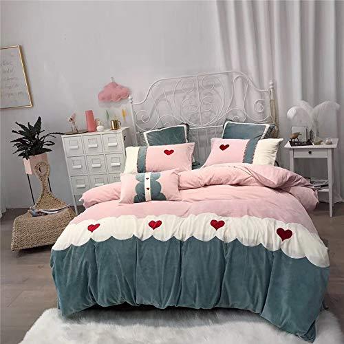 YIEBAI, 4/7pcs Bedding set super soft Warm cashmere bed set Bedsheet set applique Duvet cover Pillowcases,2,Large Size 4pcs