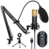 USB Condenser Microphone for Computer, Professional PC Microphone Kit with Noise Cancelling, Mute Button, Adjustable Metal Arm Stand, Great for Gaming, Podcast, LiveStreaming, Recording, Gloden