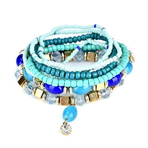 Bohème Armband aus Perlen, für Damen, mehrschichtiges Design, Armband aus Legierung, Armband mit Anhänger aus Edelsteinen, Schmuck