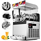 VBENLEM 110V Commercial Slushy Machine 30L Double Tank 400W Stainless Steel Margarita Frozen Drink With Powerful Compressor Efficient Cooling Perfect for Supermarkets Cafes Restaurants Bars, Sliver
