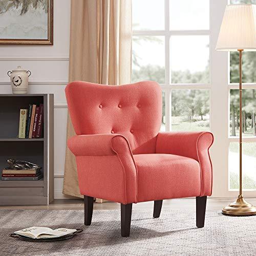 BELLEZE Accent Chair Armchair High Back Cushion Seat Armrest Linen Modern with Wooden Leg, Brick