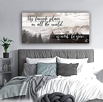 Sense of Art | Next To You Quote | Wooden Framed Canvas | Ready to Hang Wall Art for Home Decoration from Sense Of Art