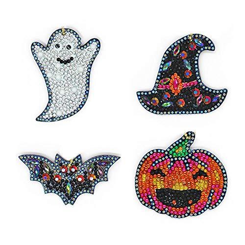 Llavero de diamante DIY con forma especial de taladro completo para Halloween, pequeño diamante especial para manualidades para niños y adultos, para mujeres y niñas, bolso de mano, colgante de regalo