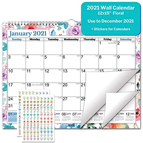 Academic Wall Calendar 2020-2021 (Floral), Big Wall Calendar 2020 2021 15x11.5 Inches, Use July 2020 to December 2021, for School Year Calendar 2020-2021 and Full Year 2021, Bonus Planner Stickers