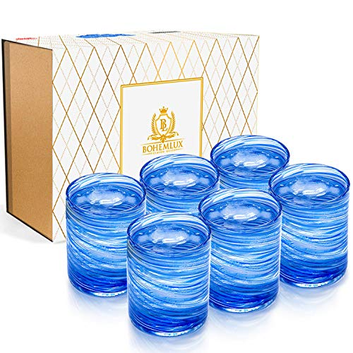 BOHEMLUX Set de 6 Vasos de Cristal Soplados a Mano en Espiral Azul de 350 ml, de 11cm Alto y 8cm Ancho, Regalo para Padres, Regalo Hombre o Regalo Mujer