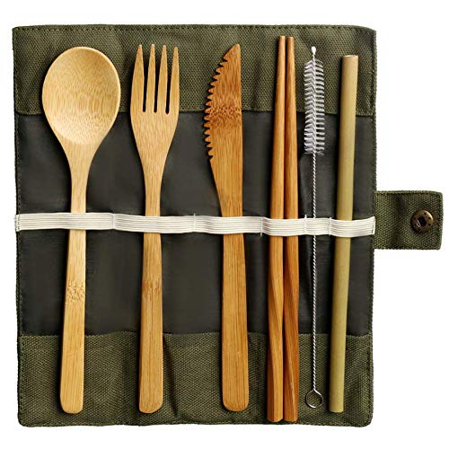 Bamboo Utensils Cutlery Set, Reusable Cutlery Travel Set Eco-Friendly Wooden Silverware for Kids Adults Outdoor Portable Bamboo Spoon, Fork, Knife, Chopsticks, Straws, Cleaning Brush and Carrying Case