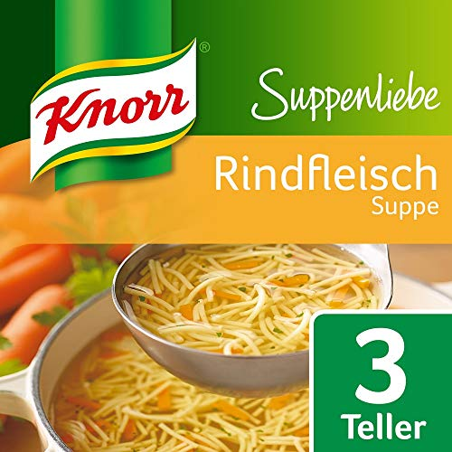 Knorr Suppenliebe Fertigsuppe Rindfleisch Suppe, 14x76 g 3 Portionen
