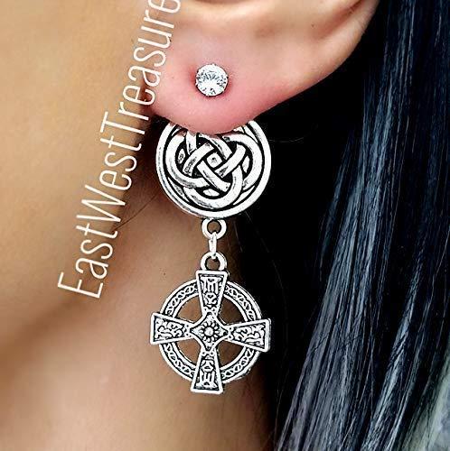 Celtic Cross earrings-Friendship Celtic Knot drop stud earrings-Irish Scottish earrings for women teens jewelry gift