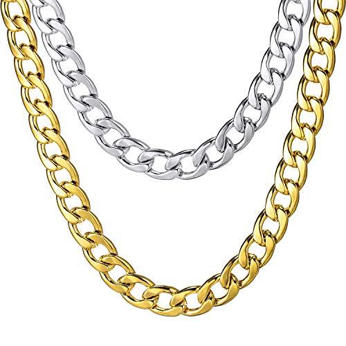 Blulu 2 Pezzi 18 K Oro Finto e Collana a Catena in Acciaio Inossidabile, Collana a Catena Curvata (24 Pollici, 10 mm)