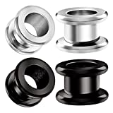 BIG GAUGES 2 Pairs Steel Black Anodized 00 g 10 mm Screw Tunnels