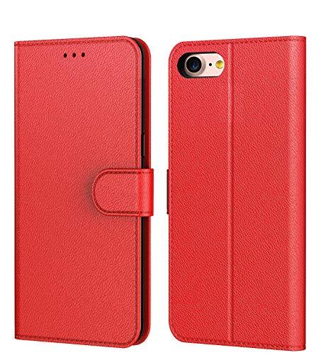 AURSTOR Aurstore Etui Coque pour Iphone Se 2020,Iphone 8,Coque Iphone 7,Protection Housse en Cuir PU Portefeuille,[Ranges Cartes],[Languette Magnétique] pour (Iphone 7/8 (4,7 Pouces), Rouge)