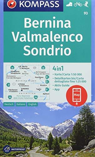 KOMPASS Wanderkarte Bernina, Valmalenco, Sondrio: 4in1 Wanderkarte 1:50000 mit Aktiv Guide und Detailkarten inklusive Karte zur offline Verwendung in ... Skitouren. (KOMPASS-Wanderkarten, Band 93)