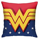 YHML Wonder Woman Fundas de almohada cuadradas de felpa, impresión decorativa, suave, para salón, sofá, cama infantil, decoración del hogar, 45 x 45 cm