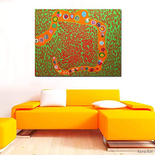 The omnipotent art Yayoi Kusama Abstract floral mural printed on canvas, modern decoration,Frameless painting,60X80cm