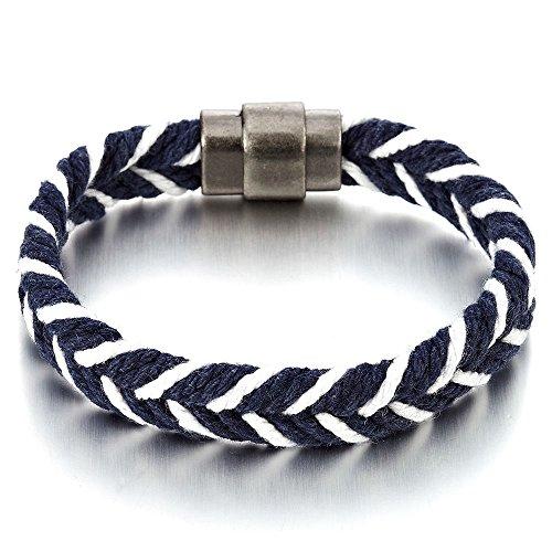 COOLSTEELANDBEYOND Vela Marina Pulsera Azul Oscuro Blanco Algodón Cuerda Trenzado, Hombre Mujer...
