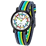 Reloj analógico para niños, Primer Reloj para niños de fácil Lectura Reloj de Pulsera Diario Resistente al Agua para niños y niñas con Correa de Nailon Suave