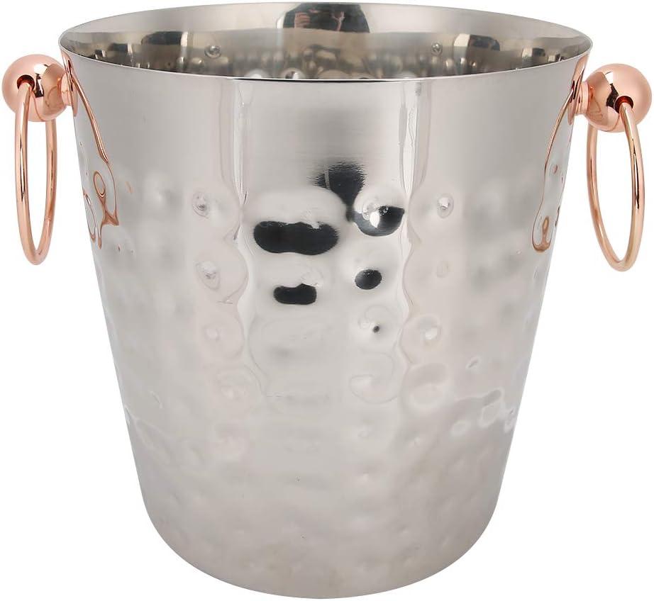 304 acero inoxidable Cubo de hielo aislado, Grande Plata Cubo de champán helado, Portátil Cubo enfriador de vino Decoración y accesorios para vinotecas para enfriar Vino, Cerveza o champán