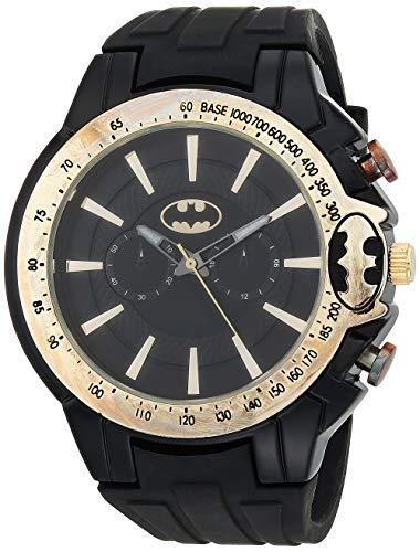 DC Comics - Reloj de cuarzo para hombre con correa de acero inoxidable, color negro, 27 (modelo: BAT9475AZ)