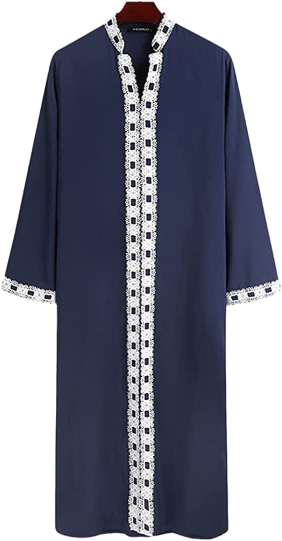 Muslim Islamic Arabic Kaftan Men Lace Patchwork Long Sleeve V Neck Robes