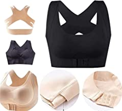 Seamless Front Buckle Support Bra,Women's Full Coverage Front Closure Wire Free Back Support Posture Bra, with Removable P...